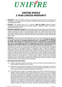 Unifire 2 Year Nozzle Warranty